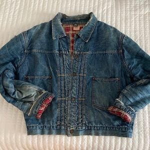 Vintage Denim Jacket Flannel Lined and Filled